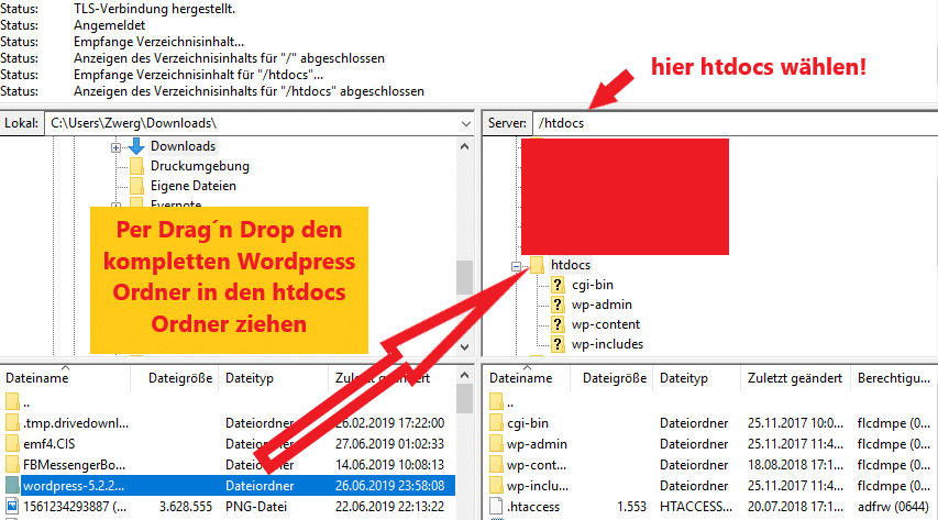 Wordpress auf Checkdomain installieren